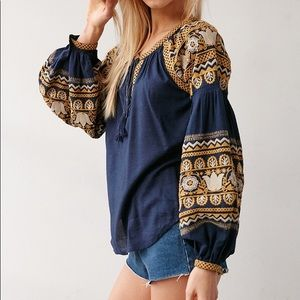 UO Ecote Silviana Peasant embroidered blouse